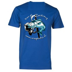 Sweat camo bleu à capuche surfcasting logo vracpeche