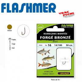 Carnet 10 hameçons bronzes droits flashmer