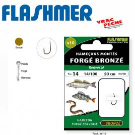Carnet 10 hameçons bronzes droits renversés flashmer